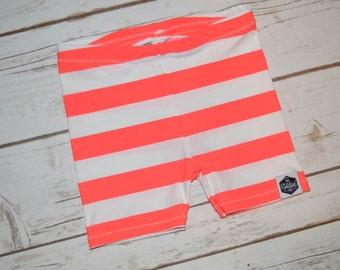 SALE || Neon Orange Stripes - Baby Swim Shorts, Baby Swimming Trunks, Toddler Swim Shorts, Toddler Swimming Trunks