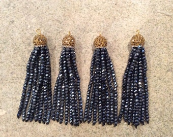 gold/hematite pave crystal tassel jewelry making wholesale