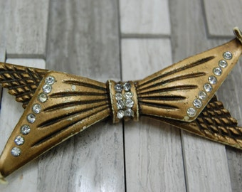 Early Pleastic Resin Art Deco Bow Brooch with Clear Rhinestones