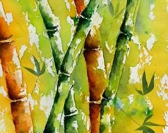 Watercolor Original Watercolor Ink Drawing bamboo expressive
