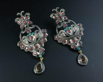 Pave Ruby and Diamond Earrings -  Pave Dangler Earrings - 925 Sterling Silver & Oxidization - Women Earrings - Vintage Earrings Jewelry