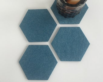 Geometric Modern Coasters, Minimalist Drink Coaster Set, Merino Wool Industrial Felt