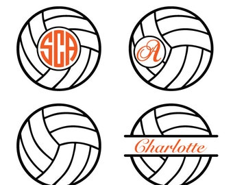 Voleyball Monogram split Frame DXF SVG EPS for Cricut Design, Silhouette studio, Sure Cuts A Lot, Makes the Cut, instant Download