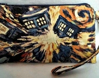 Exploding Tardis Wristlet - Dr Who - The Doctor Zippered Pouch - Whovian Clutch - OOAK - Custom Made