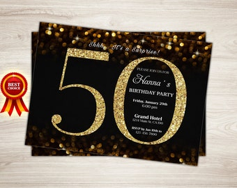 Surprise 50th Birthday Invitation. Gold Glitter 60th Birthday Invitation, Woman 50th birthday invitation, Elegant, Chalkboard, string lights