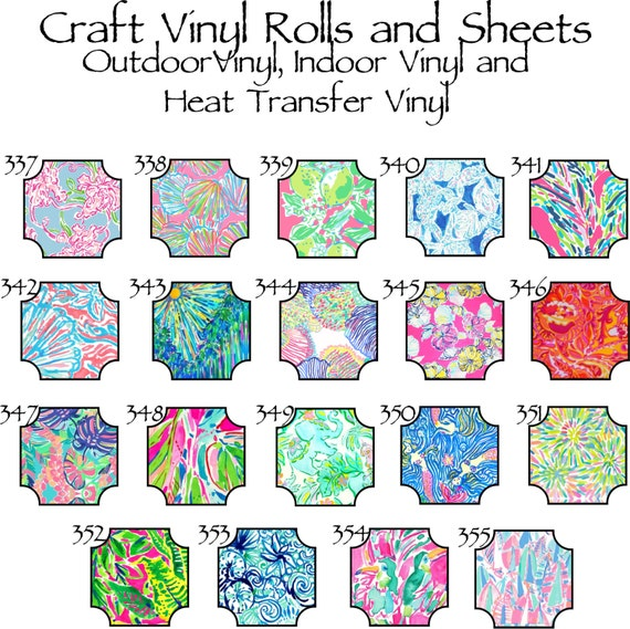 Beautiful, Vibrant Patterned Craft Vinyl and Heat Transfer Patterns 337-355