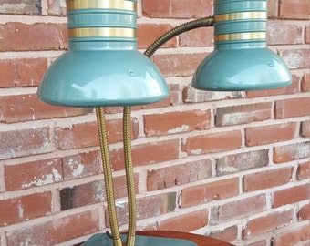 Huge Dazor Double Gooseneck Industrial Task Lamp Drafting Lamp: Art Deco, Mid Century, 1940s, 1950s