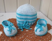 Booties for the baby hat and booties for the baby hat baby gift Knitwear Blue Cotton Handmade  Crochet ready to ship.