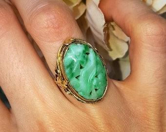 Natural Jade Gemstone 14k Gold Ring, Light Green