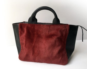 Leather tote, Red  bag, Red leather bag, Leather tote bag, Leather bag woman, leather tote, Red NAYRA tote
