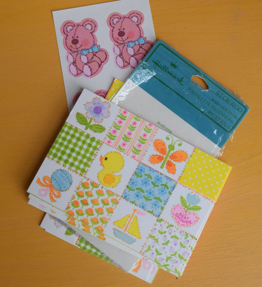 vintage hallmark baby shower postalette set of 6 baby shower