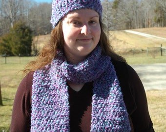Purple Soft & Fuzzy Crochet Scarf and Hat Set