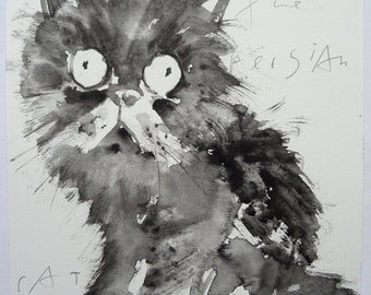 Georgia O'Keeffe the Persian Cat, original watercolour painting by Andy Shaw