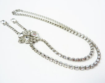 Vintage 1950s Clear Rhinestone Negligee Necklace
