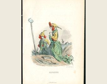 1867 Yellow & Orange Nasturtium Grandville Fleurs Animees Steel Plate Engraving - Original Hand Colored Print -Antique Print - FREE SHIPPING