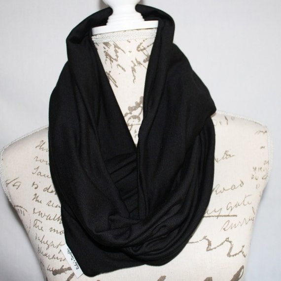 Black Infinity Scarf With Hidden Zipper Pocket Travel Scarf