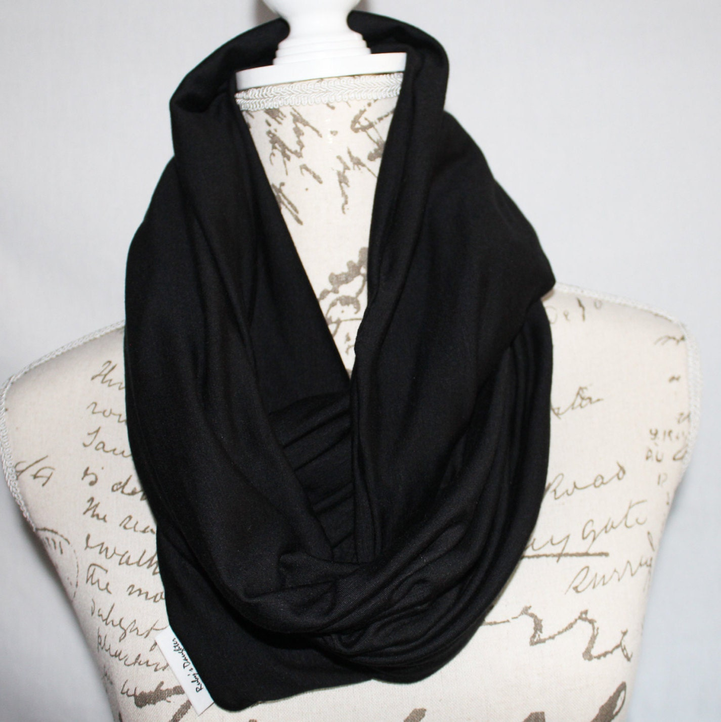 Black infinity scarf with hidden zipper pocket travel scarf for Travel scarf