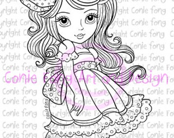 digital stamp, digi stamp, Digistamp, Bow Tie In My Hair by Conie Fong, girl, scrapbooking, coloring page