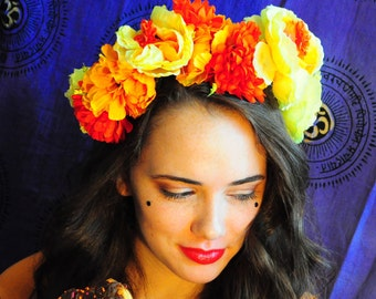 Honey Be(yoncé) Flower Crown, Yellow and Orange Floral Headband