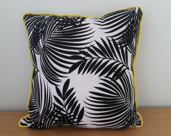 Palm Leaf, Black and White, Cushion Cover with Yellow Piping