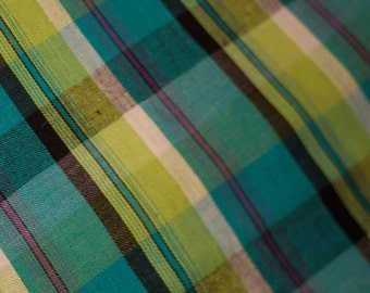 Cool-Toned Cotton Twill Selvedge Plaid