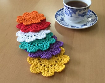 Drink coasters- Crochet coasters- Decorative coasters- Crochet flowers coasters- 100 percent cotton coasters- Set of 6