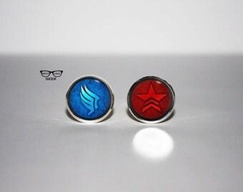 Mass Effect Renegade Paragon earrings, Renegade Paragon stud earrings, Renegade vs Paragon earrings, Art Gifts, fan gift