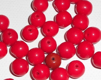 37 1960s Vintage German Pressed Glass, Nice Pinkish Red Irregular Round Beads,7mm,CheckBackLaterBeads
