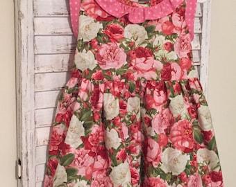 Pink polka dot and rose toddler dress, size 2