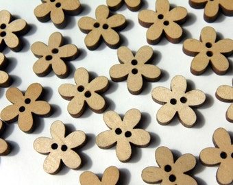 15 Vintage Flower Wooden Buttons 2 Holes #EB46