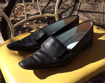 Black Leather Minimal  Witch Oxford Flats size 6.5 or EU 36.5