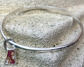 Hammer textured silver charm bangle