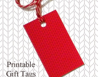 Solid Red Knitted Gift Tags / Printable Knitting Gift Tags / Christmas Gift Tags / Knitter Scrapbook Tags /