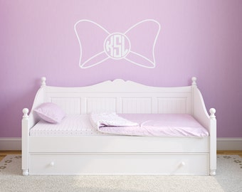 Monogram Bow With Circle Monogram Wall Decal Room Wall Decor Vinyl Decal Sticker - Personalized Vinyl Decal for bedroom