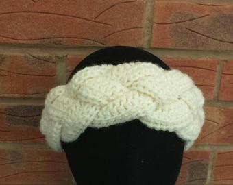 Braided, ladies, crochet, headband, cream, winter headband, handmade headband, crochet headband, crocheted headband, handmade, gift for her