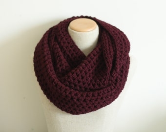 Burgundy infinity scarf, vegan, maroon cowl, vegan clothing, circle scarf, tube scarf, knitted, crocheted, ready to ship, hypo allergenic