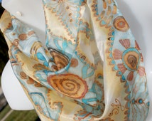 Silk Scarf Handpainted Small Silk Scarf   Silk Accessories Square  Silk Scarf Hand Painted Scarves Pastel silk scarf Yellow Scarf Silk.