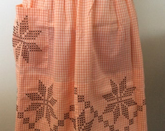 Vintage Apron Orange Gingham
