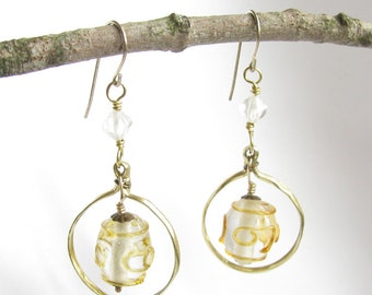Vintage Glass Hammered Circle Earrings