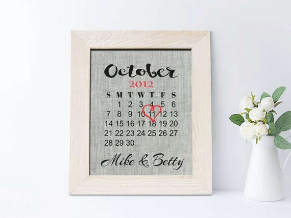 Fourth Year Wedding Anniversary Traditional Gift: 4th Linen Anniversary Gift 4 Years Together Print Fourth