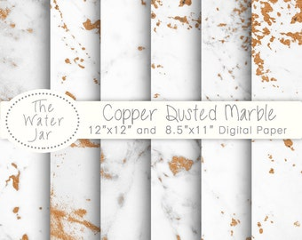 Copper Marble Digital Paper, White Marble Dusted with Copper Foil Texture, wallpaper background, Copper Veined Marble