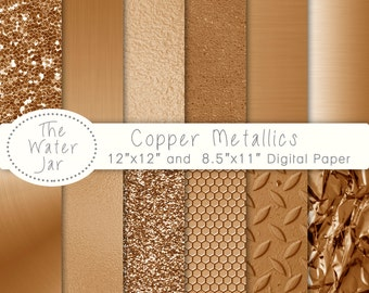 Copper digital paper, Commercial Use, Copper Metallic Glitter, Copper Textures, Brushed metal, Copper foil, Copper textures.