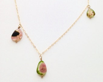 Watermelon tourmaline necklace, asymmetrical necklace, delicate necklace