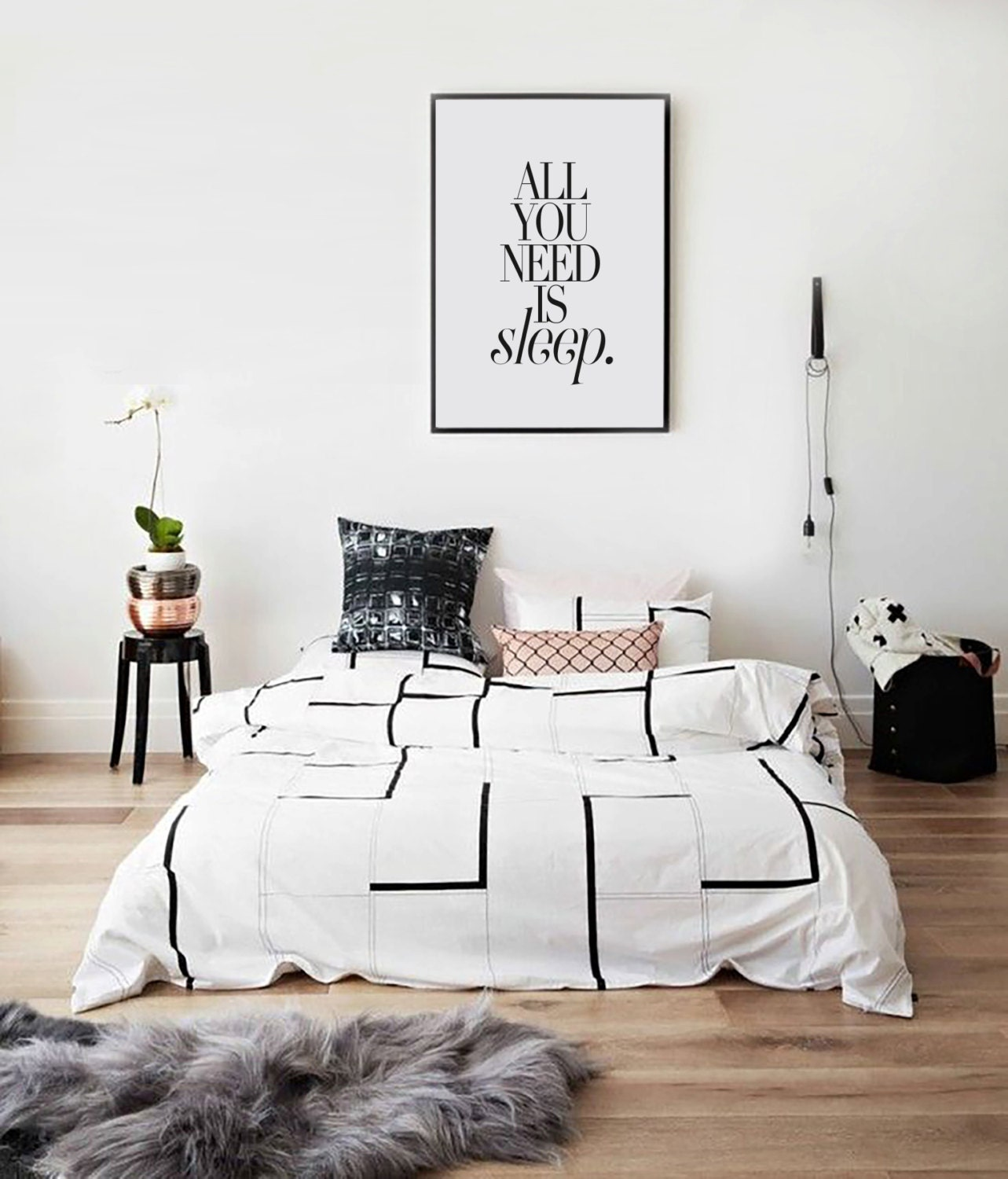 All You Need Is Sleep Bedroom Print Black And White Scandi Art Art Collectibles Digital Download