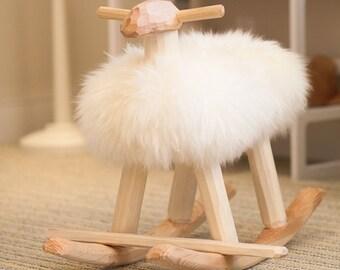 Sheep rocker wood & wool lamb