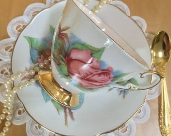 Paragon Teacup and Saucer, Six World Famous Roses, Rendezvous, White with Pink Roses, Gold Gilt, Bone China - c. 1960s