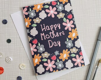 Floral Mother's Day Card, Happy Mothers Day Note Card, A6 Small Greetings Card