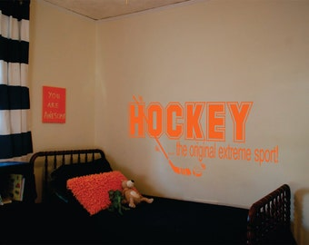 Wall Decor vinyl sticker / vinyl decal / wall decal / wall sticker inspirational quote - Hockey, the ultimate extreme sport