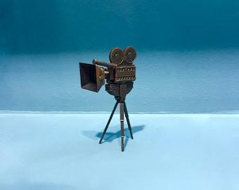 Vintage cinema camera pencil sharpener, metal die cast miniature,camera miniature with tripod,retro collection,mid 70s