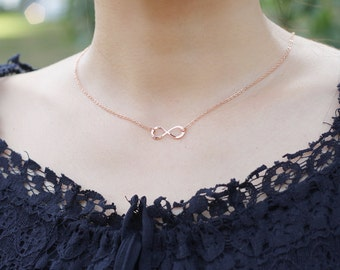 Gold Rose Gold Infinity Necklace, The Universal Symbol for Endless love, Timeless Symbol Necklace, Bridesmaid gift, Girlfriend Gift